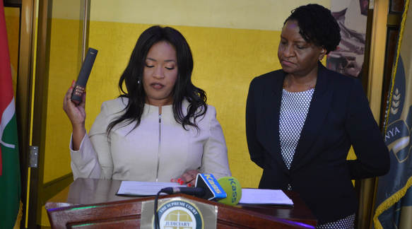 Betty Nyabuto sworn in as Commission Secretary